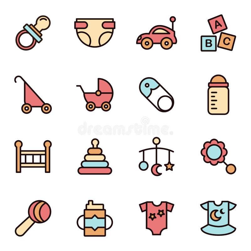 Línea plana icono de Minimalistic de los iconos del bebé ilustración del vector