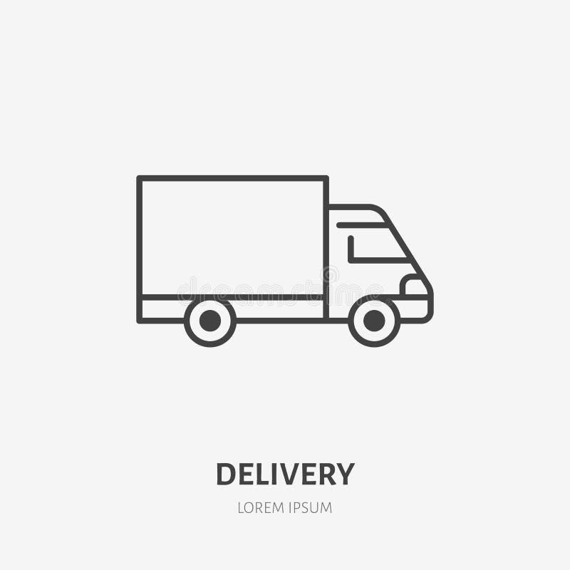 Línea plana icono de Van delivery Muestra del camión Enrarezca el logotipo linear para el cargo que acarrea, servicios de carga ilustración del vector