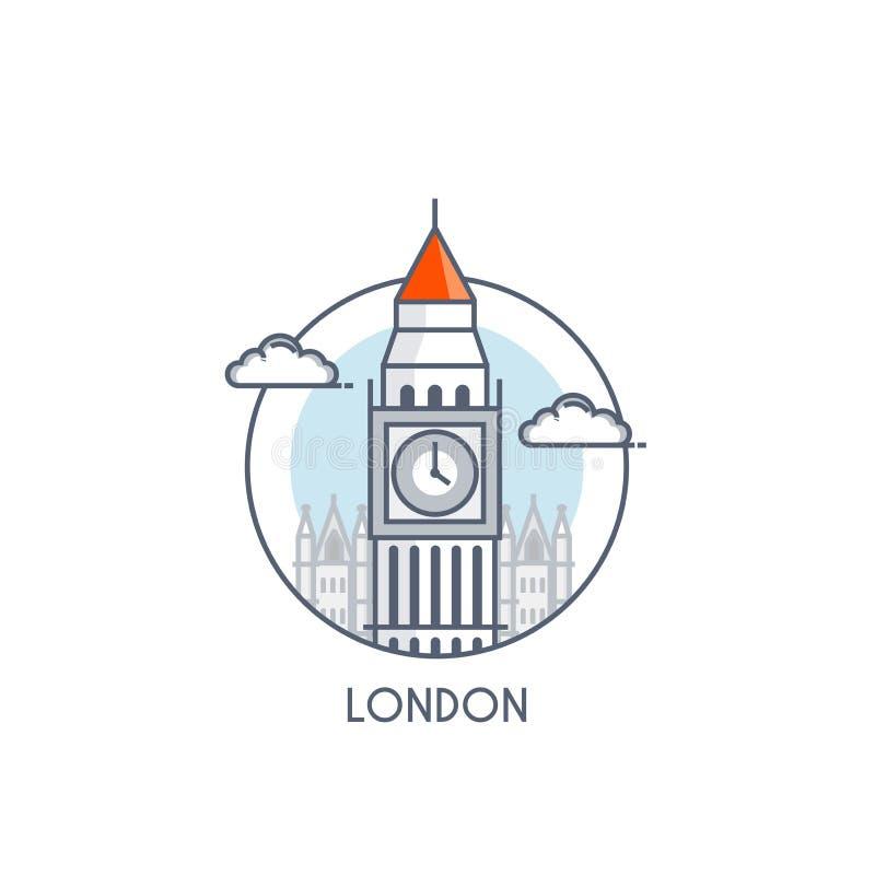 Línea plana icono deisgned - Londres libre illustration