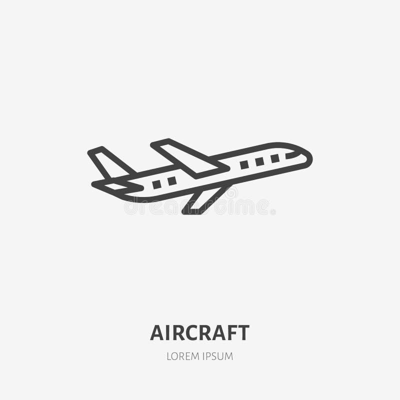 Línea plana icono del aeroplano Ejemplo del vector plano Muestra fina para el jet, envío de cargo del arte del aire, logotipo de  ilustración del vector