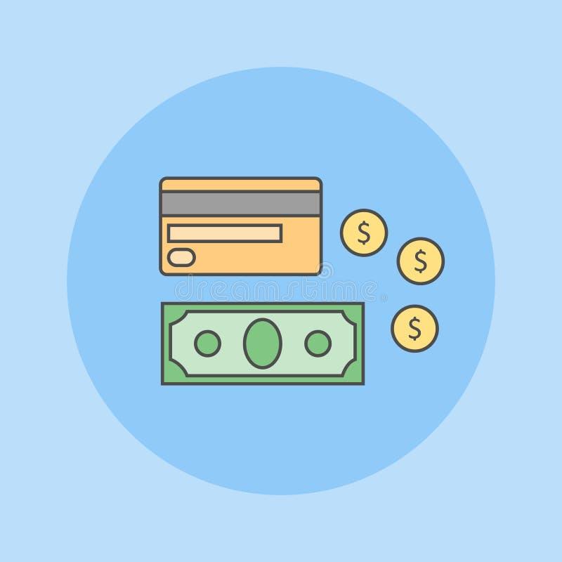 Línea plana icono del dinero Tarjeta, billete de banco y monedas de crédito ilustración del vector