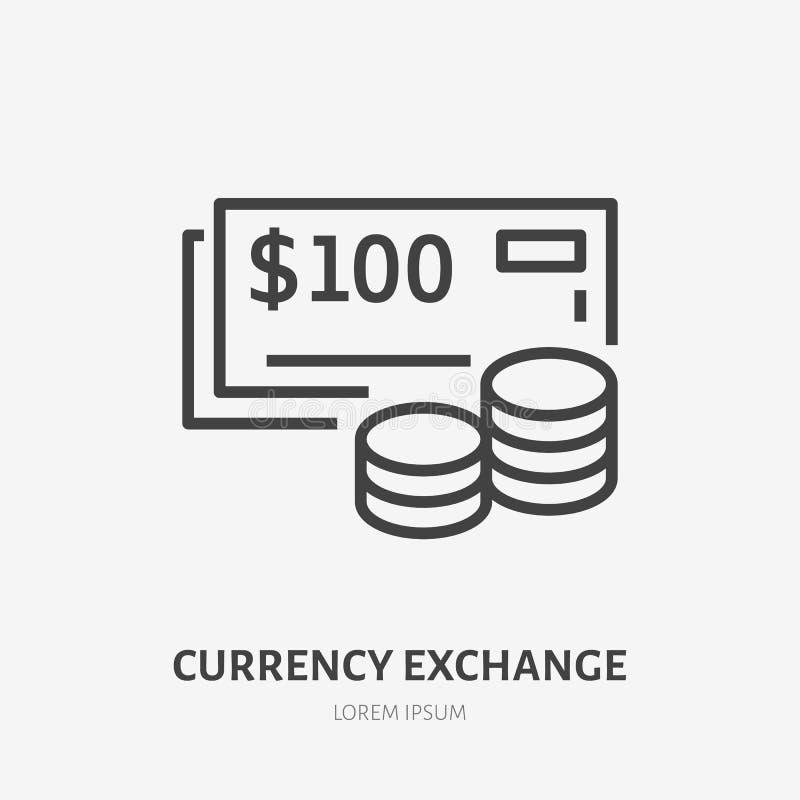 Línea plana icono del intercambio de moneda Muestra fina del vector del efectivo y de las monedas, logotipo del dinero Ejemplo de stock de ilustración