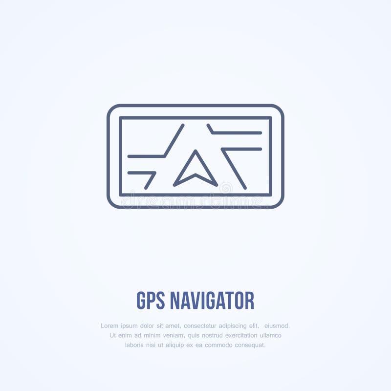 Línea plana icono del navegador de los Gps Navegación, ejemplo del vector del dispositivo que viaja Logotipo linear fino para la  ilustración del vector