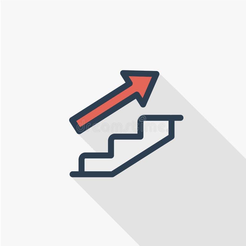 Línea plana icono del negocio de trayectoria profesional Ejemplo del vector del adelanto del crecimiento stock de ilustración