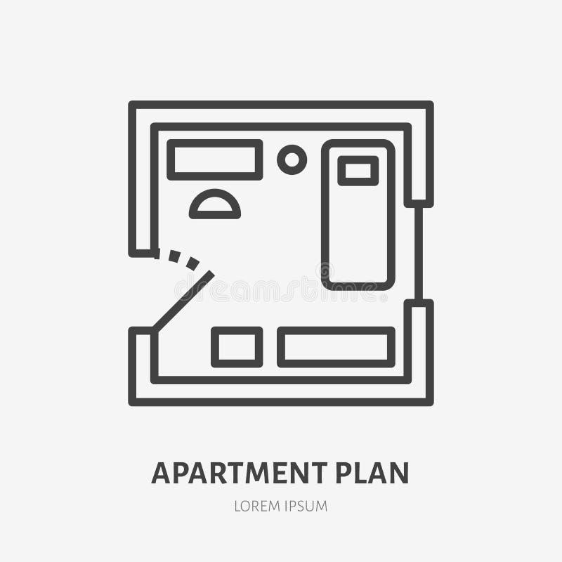 Línea plana icono del plan del apartamento Muestra fina del vector de la disposición del sitio, logotipo del alquiler de la propi ilustración del vector