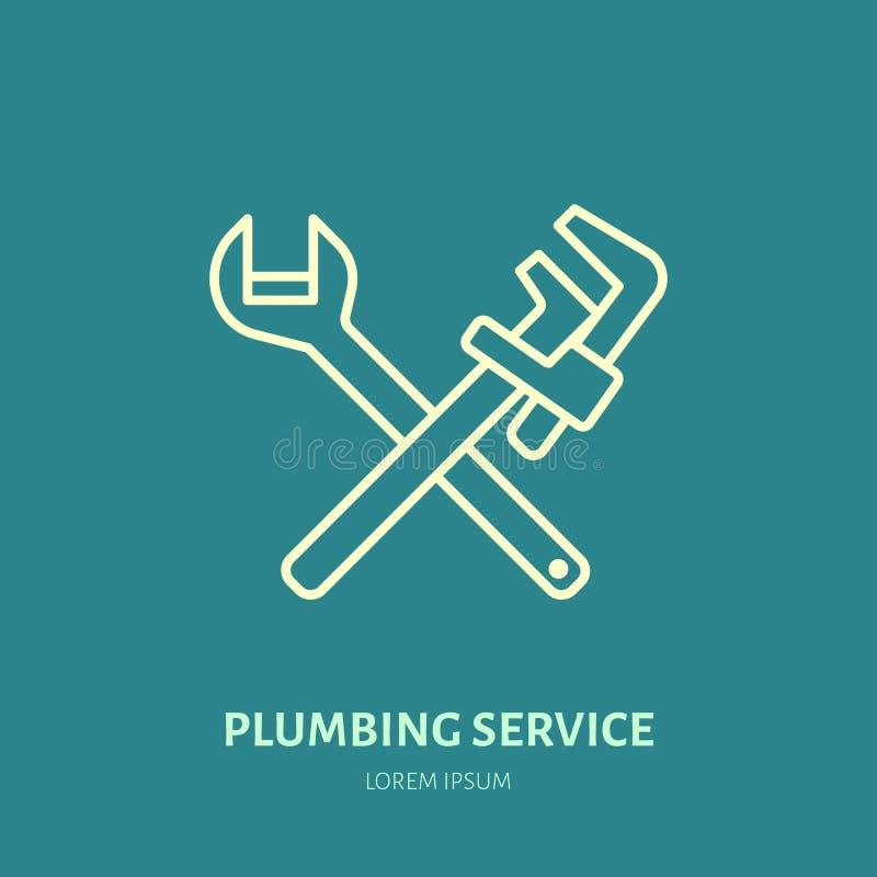 Línea plana icono del vector de la fontanería Logotipo del servicio de reparación Ejemplo de la llave, émbolo, herramientas del f stock de ilustración