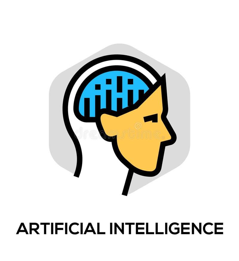 Línea plana icono del vector de la inteligencia artificial Concepto del vector para los gráficos del web ilustración del vector
