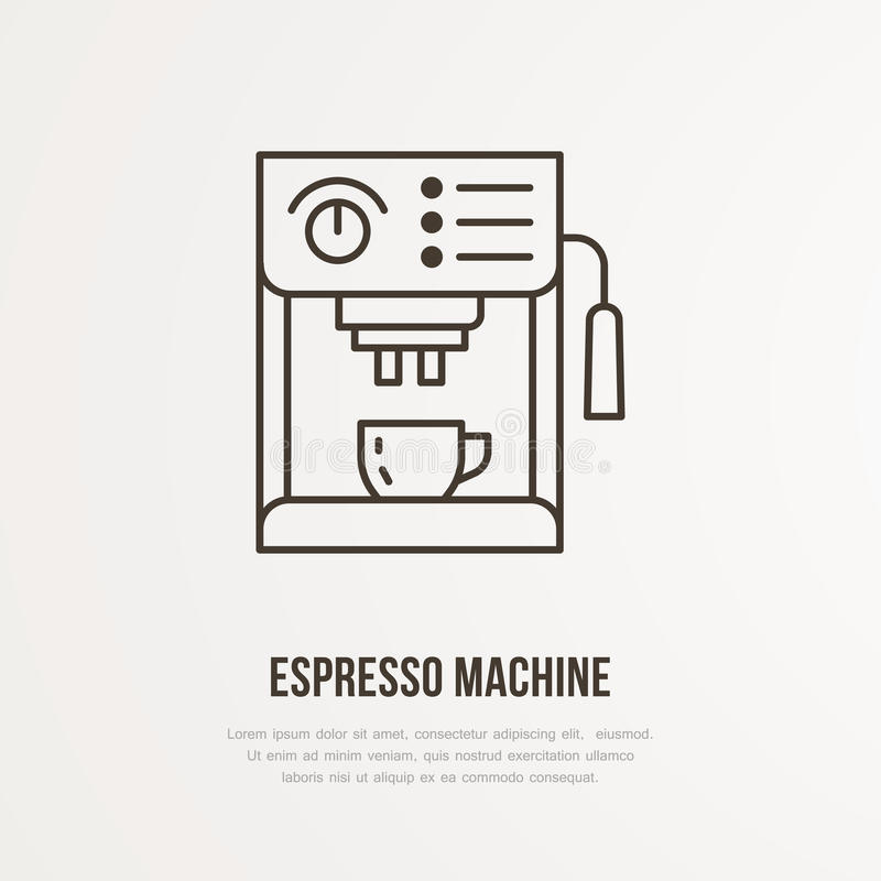 Línea plana icono del vector de la máquina de café express del café Logotipo linear del equipo de Barista Resuma el símbolo para  stock de ilustración