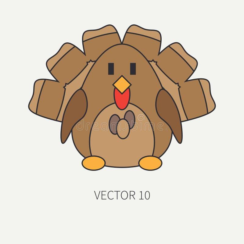 Línea plana icono del vector del color con el animal lindo para los productos del bebé - pavo Estilo de la historieta El garabato libre illustration
