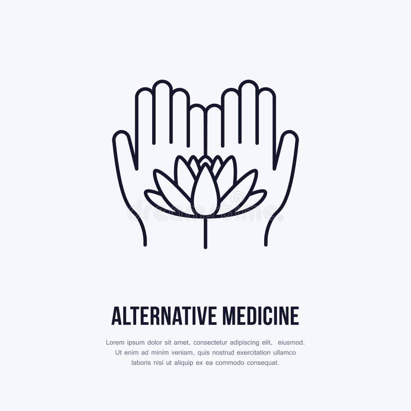 Línea plana icono, logotipo de la medicina alternativa Vector el ejemplo de lotos florecen en las manos para el tratamiento tradi stock de ilustración