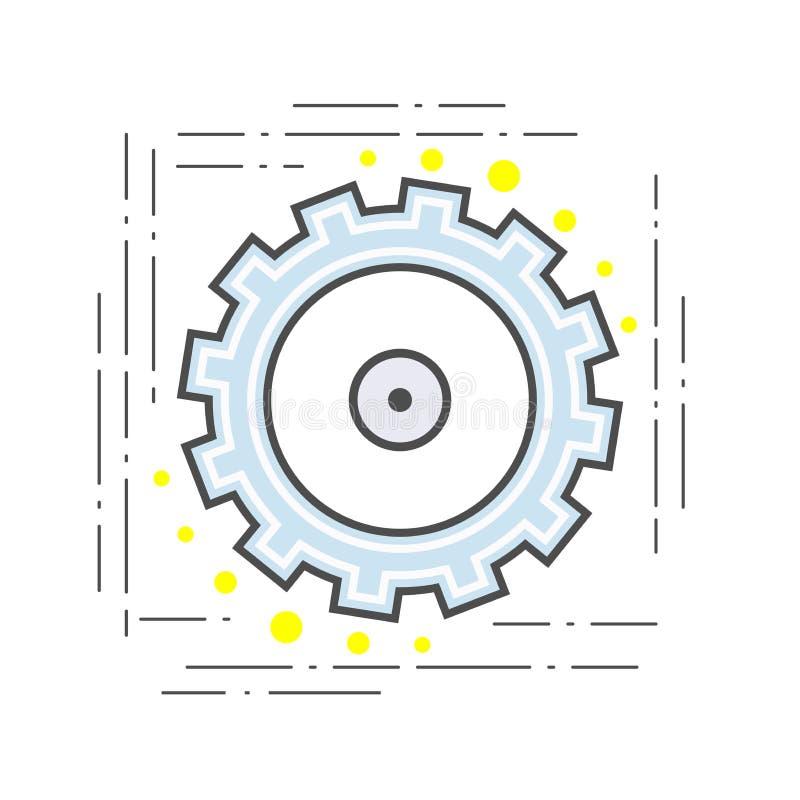 Línea plana icono moderno del piñón del engranaje muestra stock de ilustración