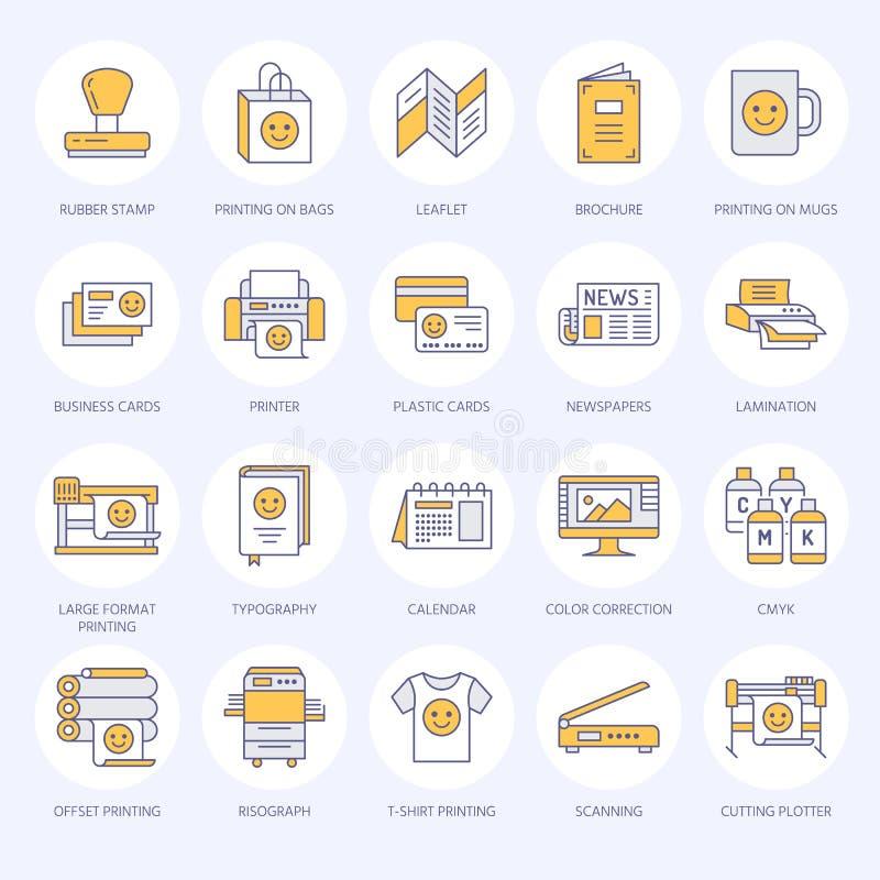 Línea plana iconos de la casa de impresión Equipo de la imprenta - impresora, escáner, máquina compensada, trazador, folleto, sel libre illustration