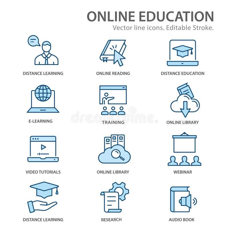 Línea plana iconos de la educación a distancia en línea Movimientos Editable libre illustration