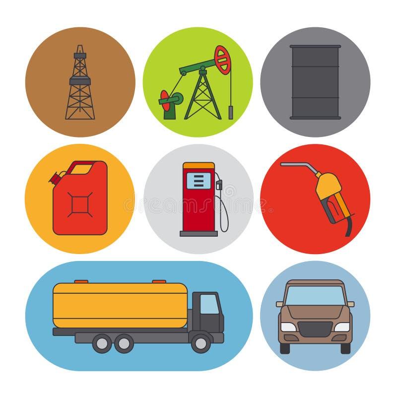 Línea plana iconos de la industria de petróleo stock de ilustración