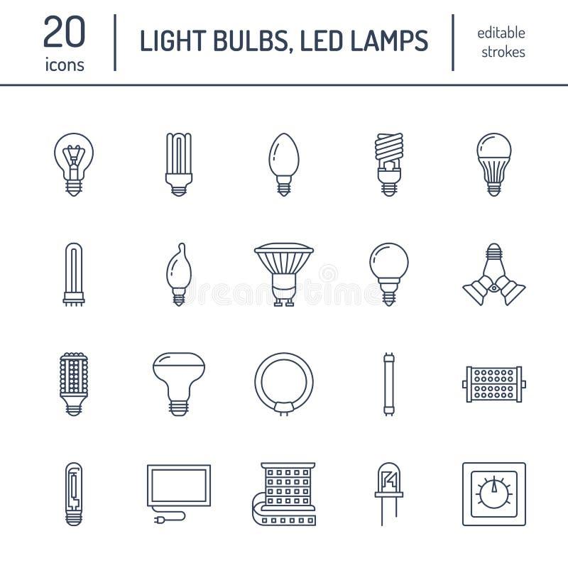 Línea plana iconos de las bombillas Tipos de las lámparas, fluorescente llevados, el filamento, el halógeno, el diodo y la otra i stock de ilustración