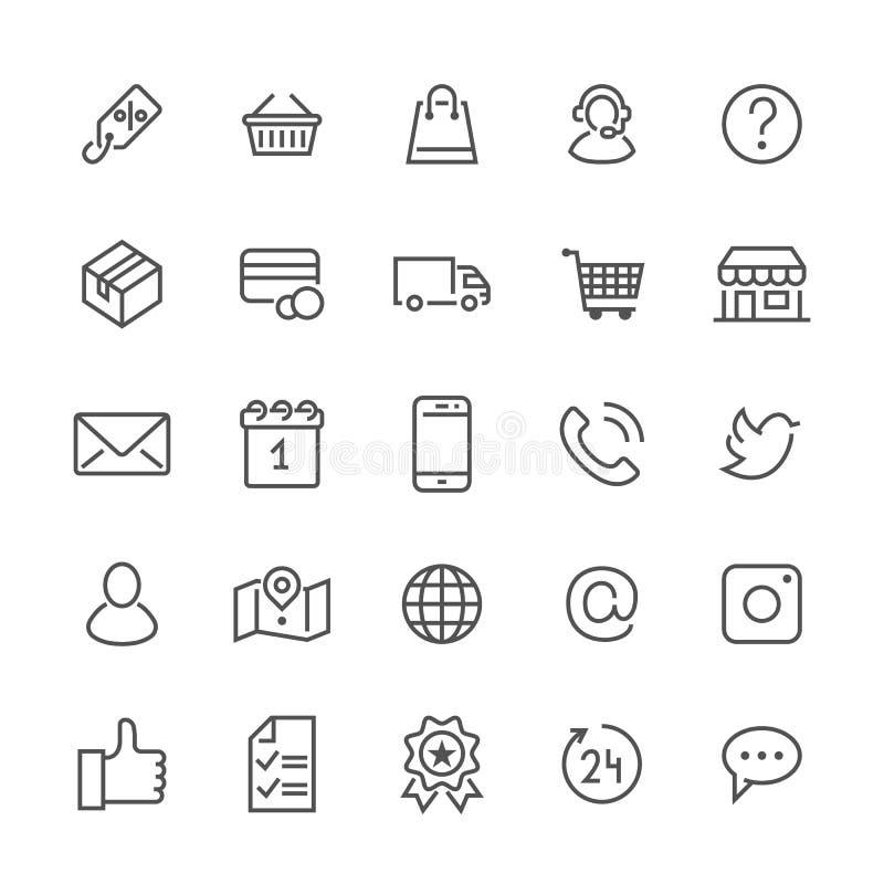 Línea plana iconos de las compras en línea Negocio del comercio electrónico, contactos, ayuda, redes sociales, cesta de la tienda ilustración del vector