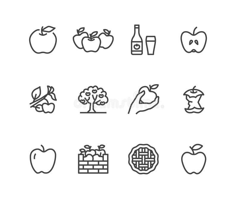 Línea plana iconos de las manzanas Cosecha de Apple, festival de la cosecha del otoño, ejemplos de la sidra de la fruta del arte  ilustración del vector