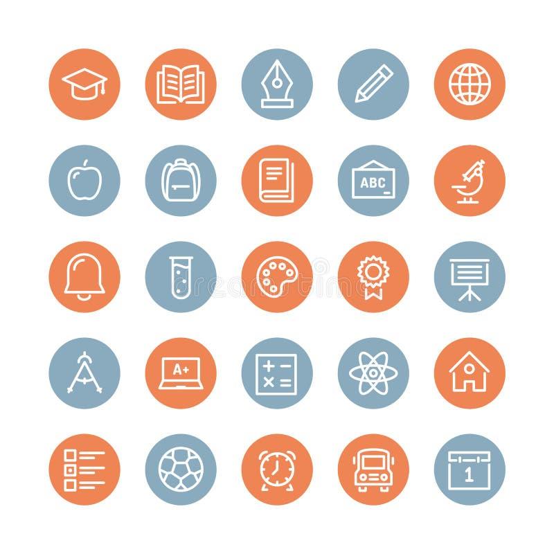 Línea plana iconos de los artículos de la educación