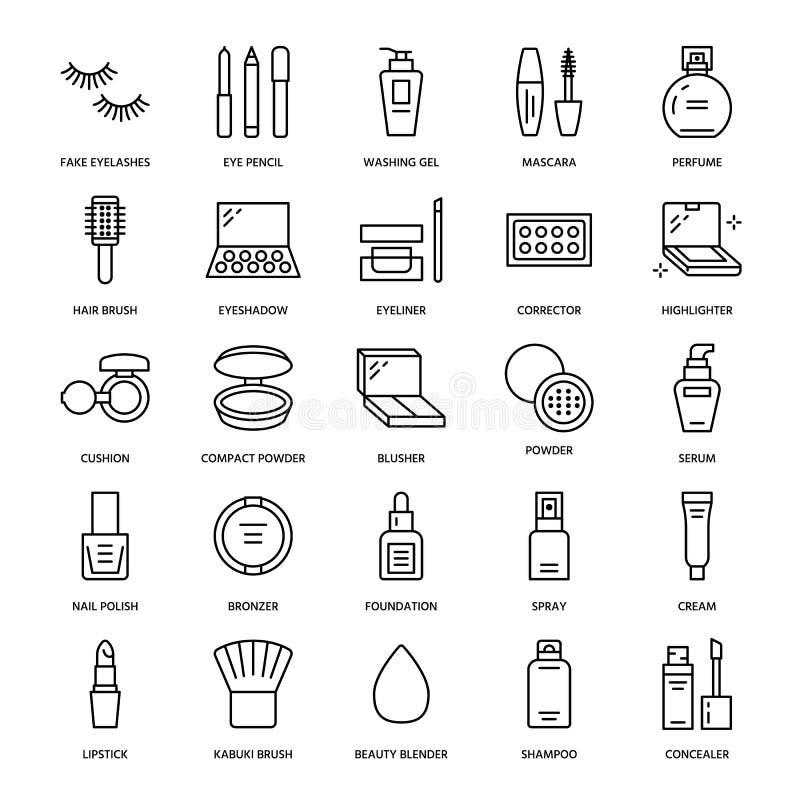 Línea plana iconos del cuidado de la belleza del maquillaje Los ejemplos de los cosméticos del lápiz labial, rimel, polvo, sombre libre illustration
