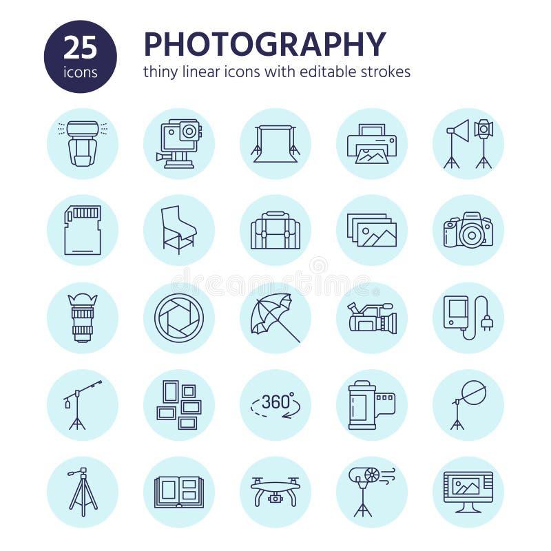 Línea plana iconos del equipo de la fotografía Cámara digital, fotos, iluminación, cámaras de vídeo, accesorios de la foto, tarje ilustración del vector