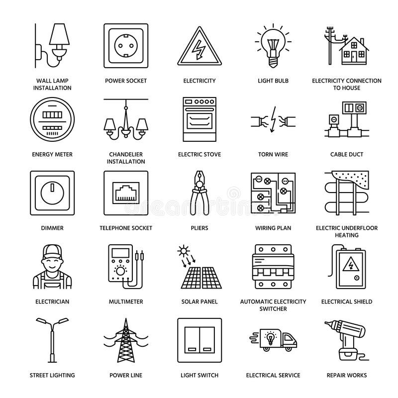 Línea plana iconos del vector de la ingeniería de la electricidad Equipo eléctrico, zócalo de poder, alambre rasgado, metro de la stock de ilustración
