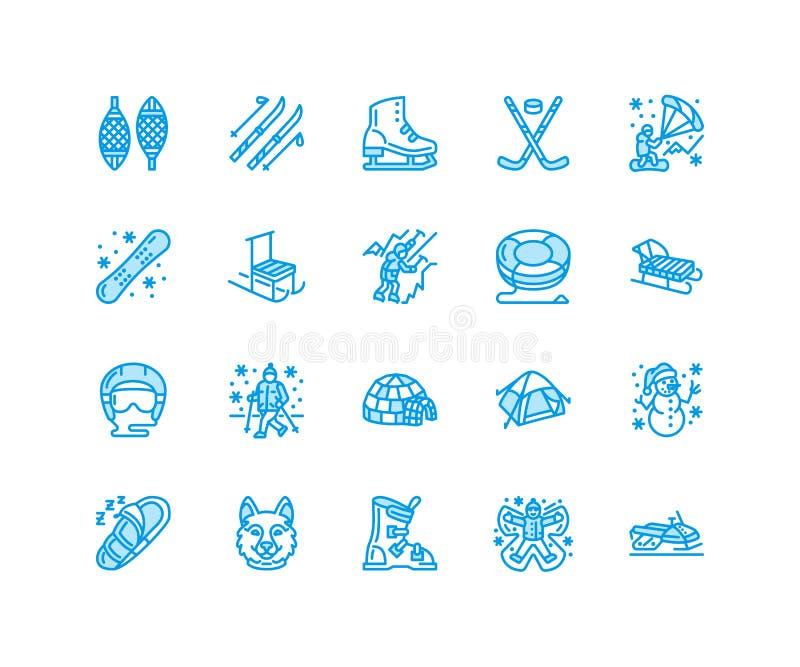 Línea plana iconos del vector de los deportes de invierno Snowboard del equipo de las actividades al aire libre, hockey, trineo,  ilustración del vector
