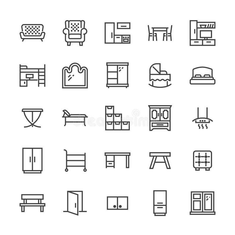 Línea plana iconos del vector de los muebles Soporte de la sala de estar TV, dormitorio, pesebre del bebé, capilla del extractor  stock de ilustración