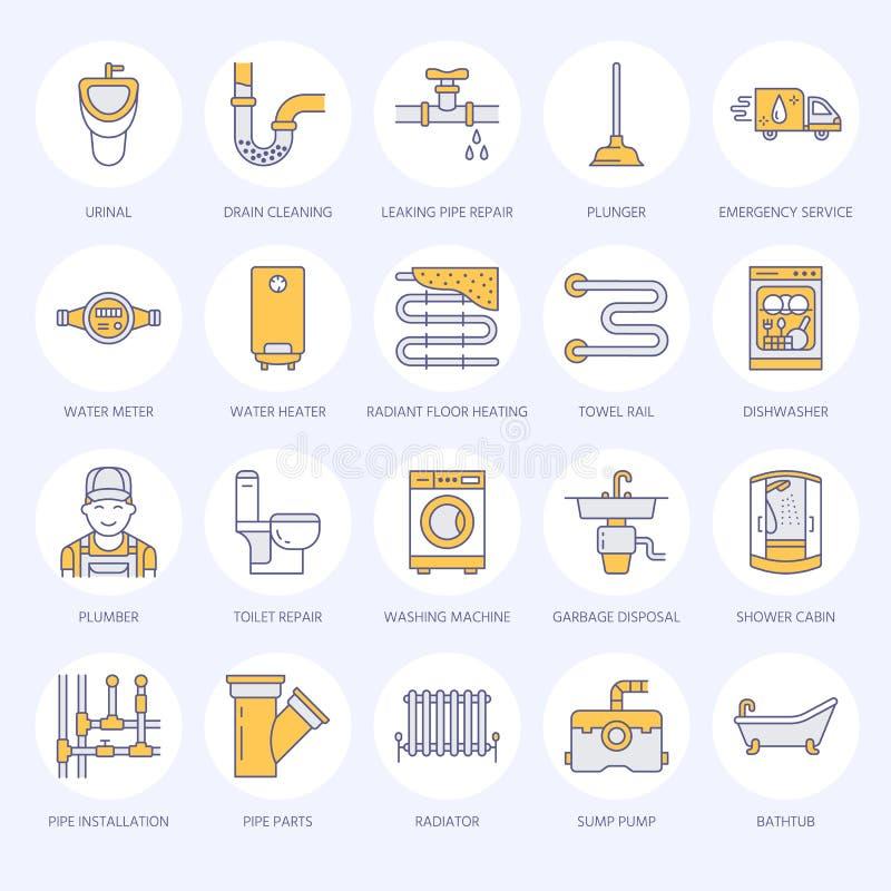 Línea plana iconos del vector del servicio de la fontanería Contenga el equipo del cuarto de baño, grifo, retrete, tubería, lavad ilustración del vector