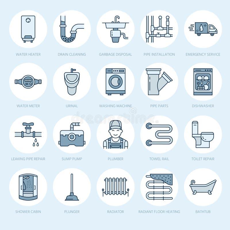 Línea plana iconos del vector del servicio de la fontanería Contenga el equipo del cuarto de baño, grifo, retrete, tubería, lavad stock de ilustración