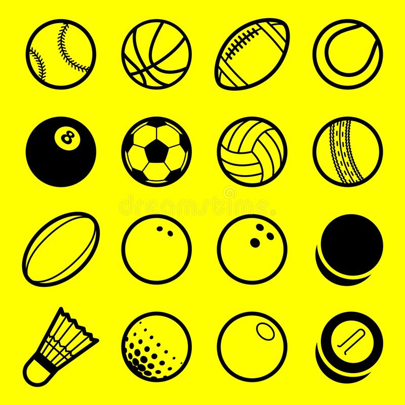 Línea plana iconos del vector del logotipo de las bolas del deporte del juego del arte fijados stock de ilustración