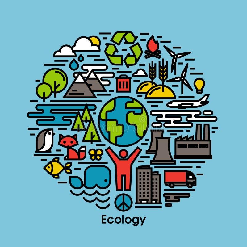 Línea plana iconos del verde, de la ecología y del ambiente fijados stock de ilustración