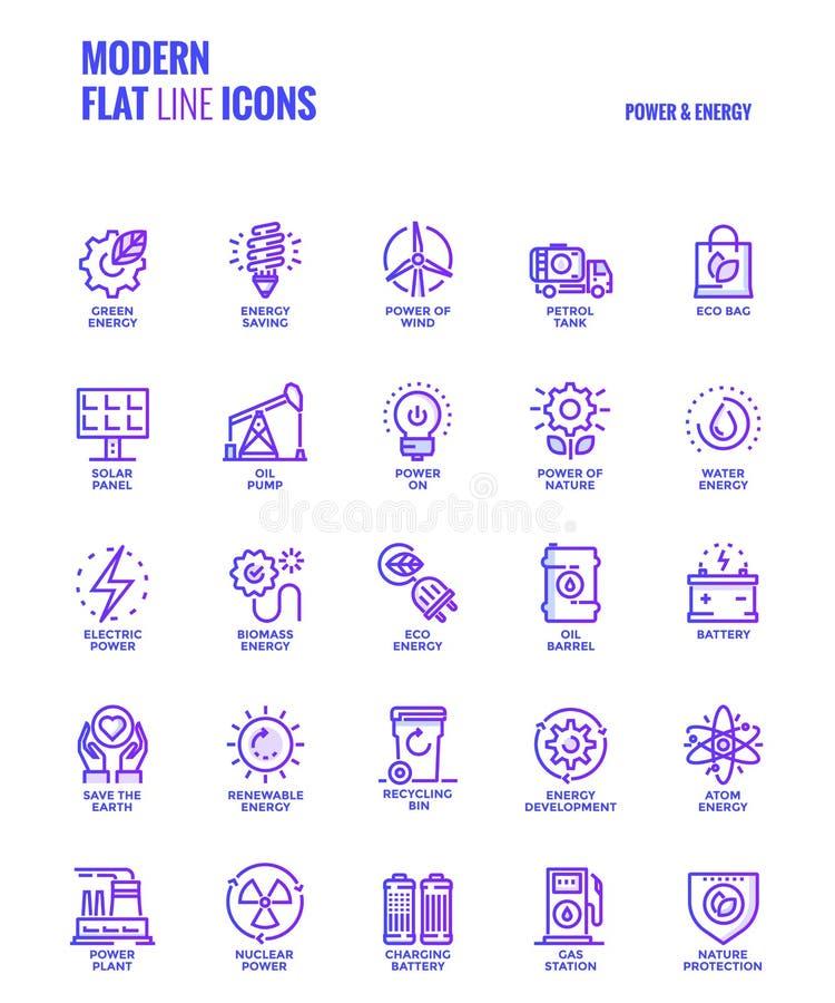 Línea plana iconos diseño-poder y energía de la pendiente ilustración del vector