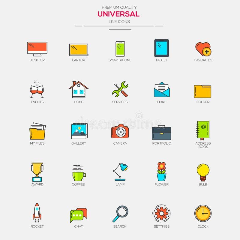 Línea plana iconos modernos del universal del color libre illustration