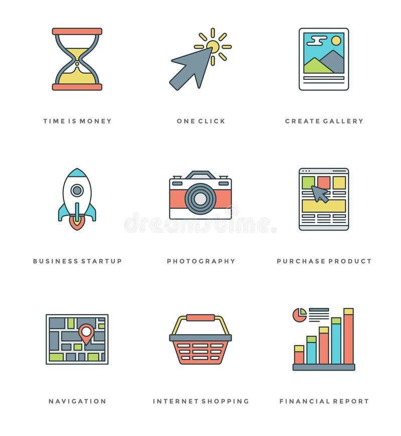 Línea plana iconos simples fijados Movimiento linear fino ilustración del vector