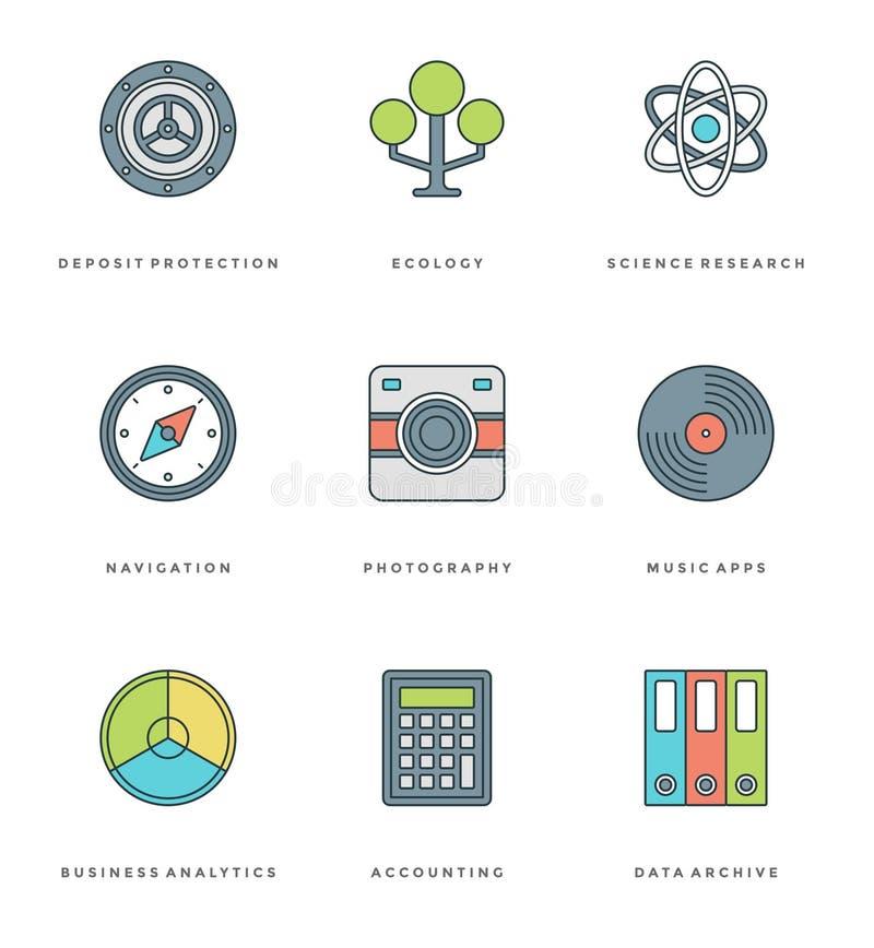 Línea plana iconos simples fijados Símbolos lineares finos de los objetos del esencial del vector del movimiento libre illustration