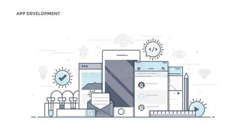 Línea plana jefe de Desin - desarrollo del App libre illustration