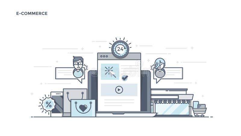 Línea plana jefe del diseño - comercio electrónico ilustración del vector