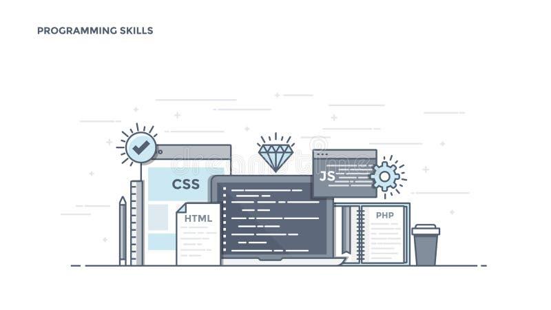 Línea plana jefe del diseño - habilidades programadas stock de ilustración