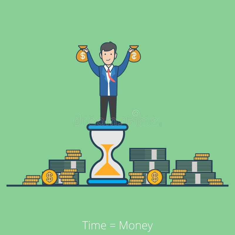 Línea plana linear el tiempo es oro vector del hombre de negocios libre illustration