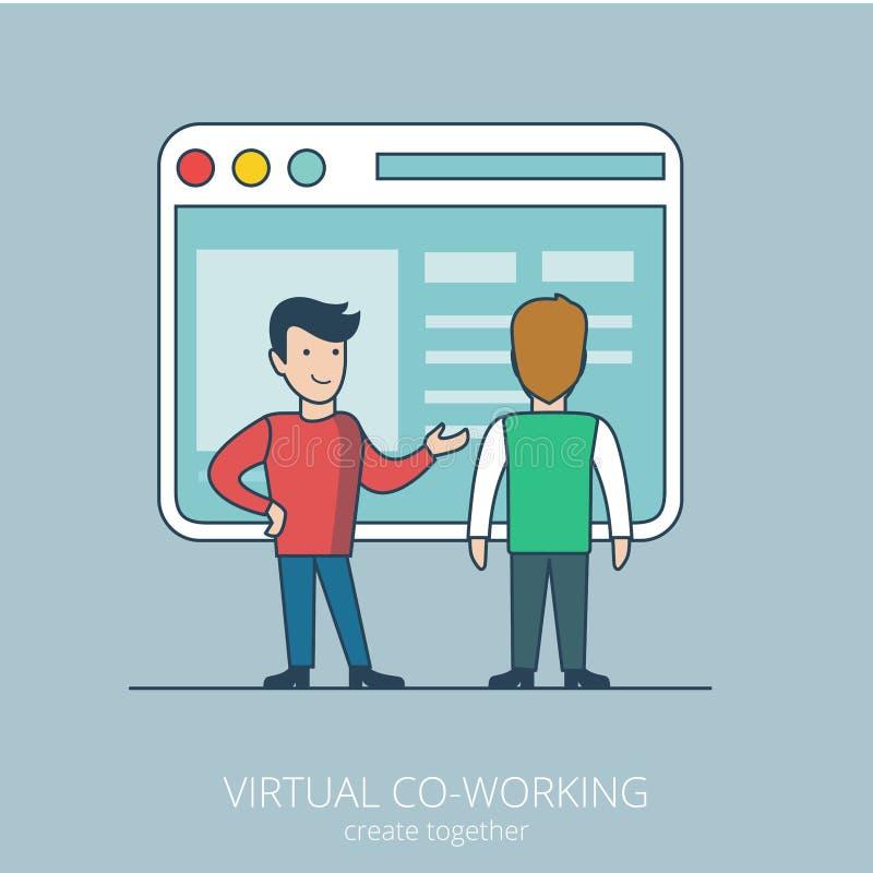 Línea plana linear negocio coworking virtual VE del arte stock de ilustración