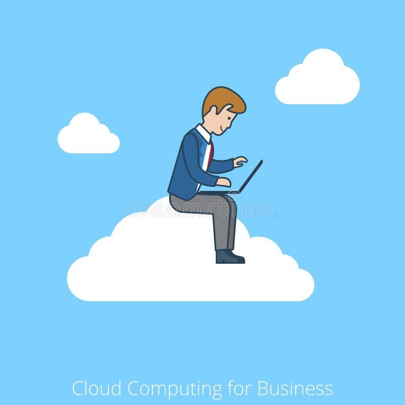 Línea plana linear nube del arte que computa para el negocio libre illustration
