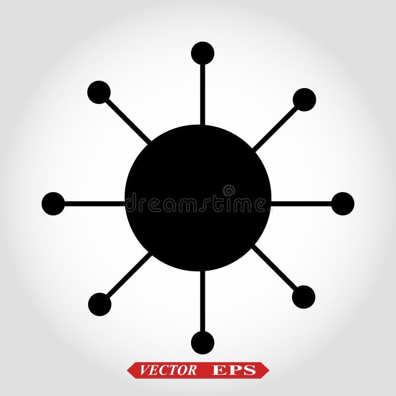 Línea plana mínima aislada icono de la conexión de red del eje ilustración del vector
