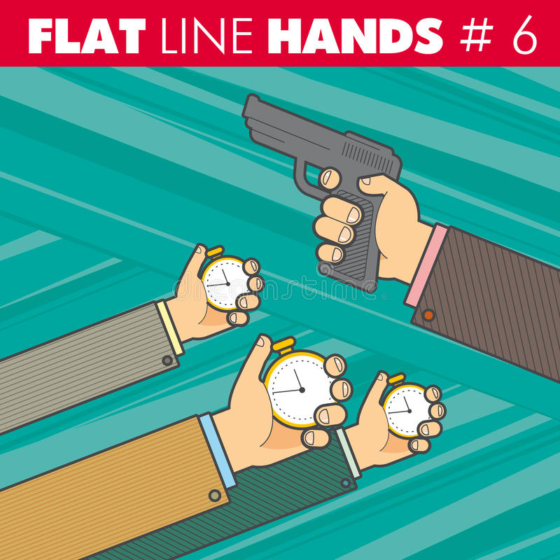 Línea plana manos 6 libre illustration