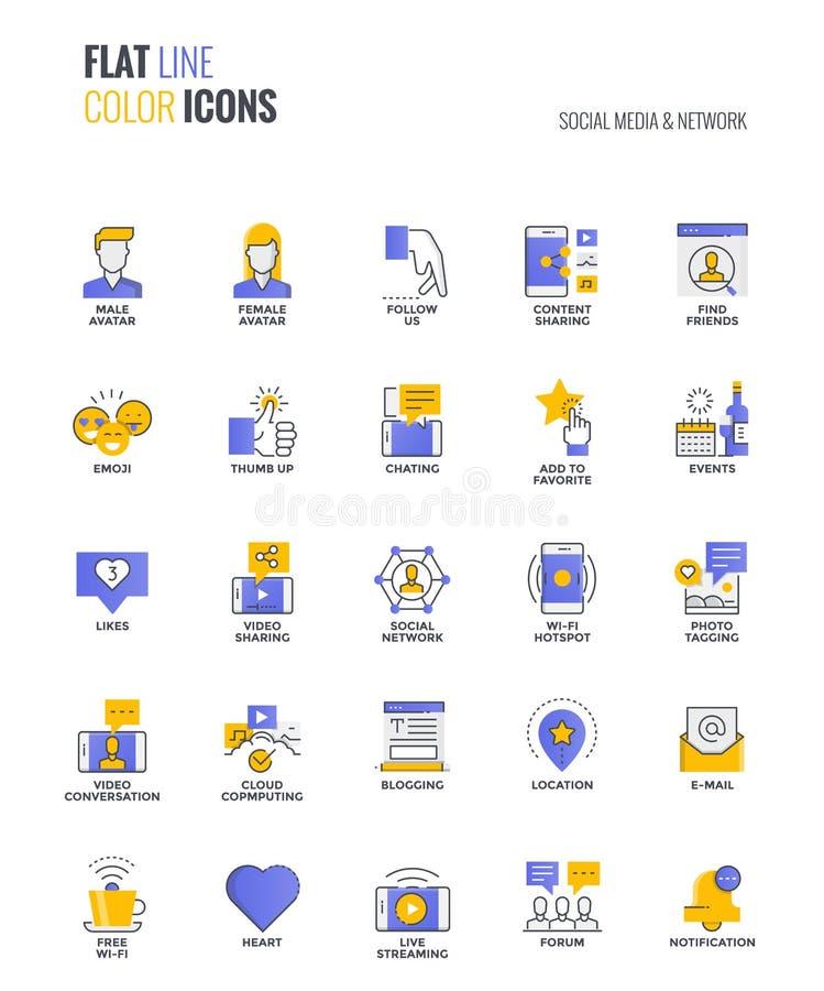 Línea plana medio y red diseño-sociales de los iconos del multiclor ilustración del vector