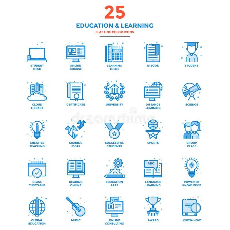 Línea plana moderna educación y aprendizaje de los iconos del color libre illustration