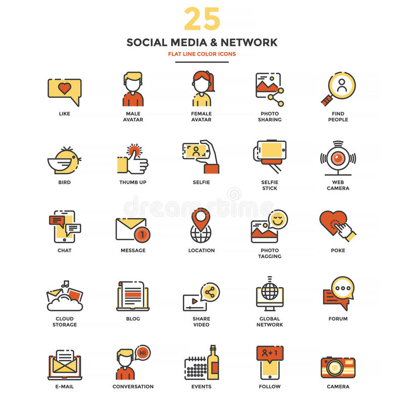 Línea plana moderna medio y red de Shocial de los iconos del color ilustración del vector