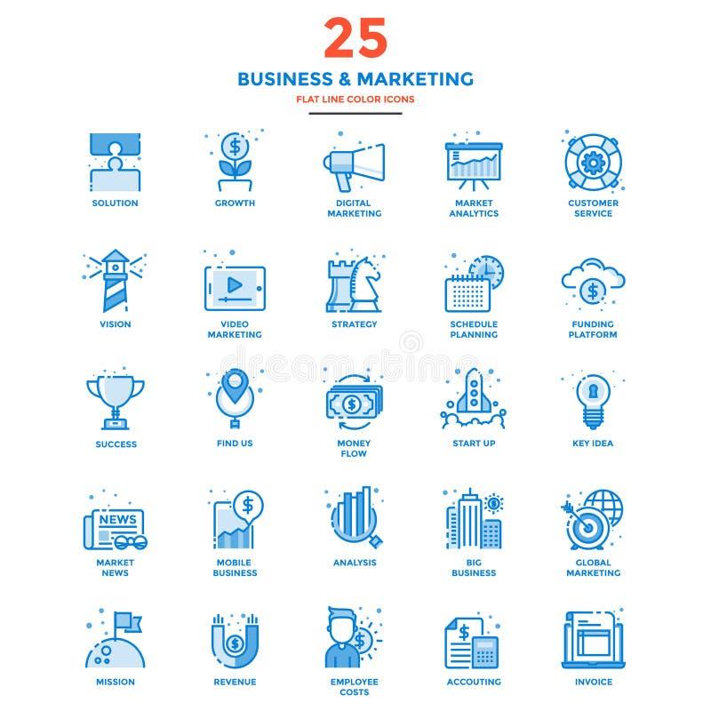 Línea plana moderna negocio y márketing de los iconos del color stock de ilustración
