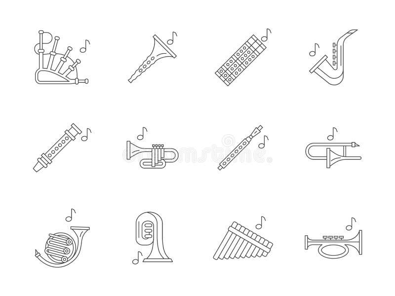 Línea plana musical iconos de los instrumentos de cobre ilustración del vector
