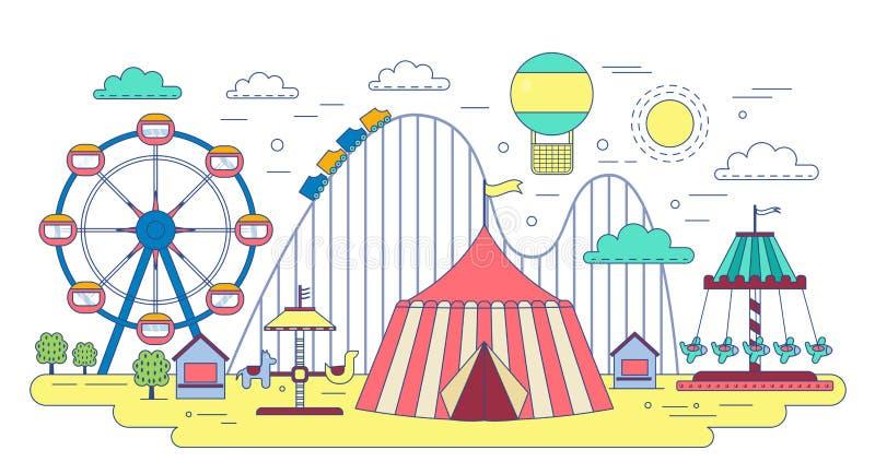 Línea plana parque del circo de la diversión aislado en el fondo blanco libre illustration