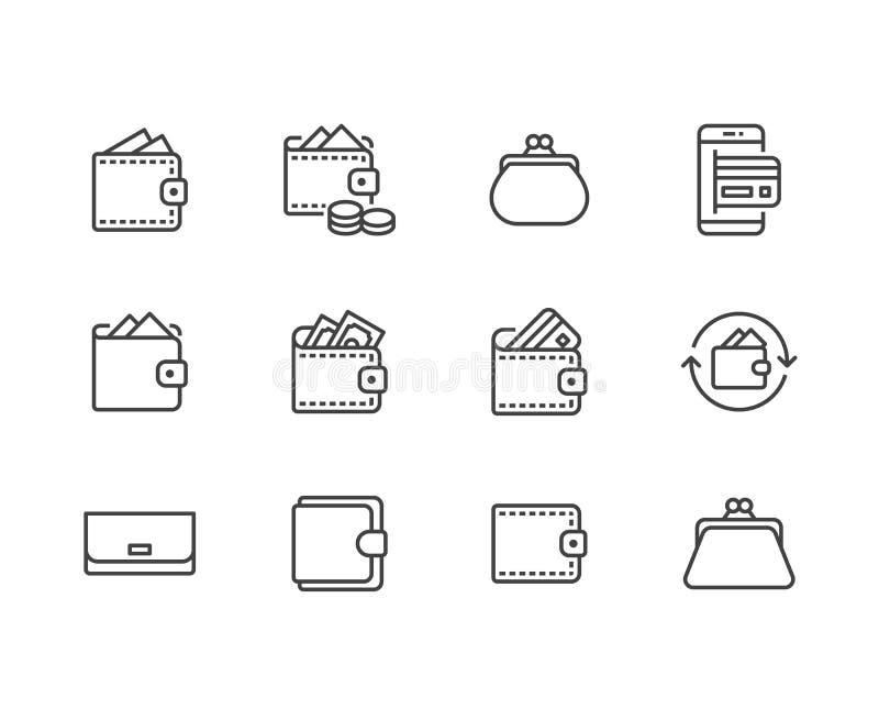 Línea plana sistema de la cartera de los iconos Monedero con el dinero, monedas, tarjeta de crédito, cashback, ejemplos en línea  stock de ilustración